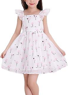 HAPPYJP 子供 ドレス ワンピース ガールズ チュール 鶴柄 フレア ノースリーブ
