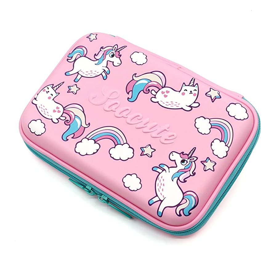 Unicorn Gifts for Girls Hardtop Pencil Case - Kids Large Colored Pen Holder Box with Compartments - Girls Cosmetic Pouch Bag Stationery Organizer