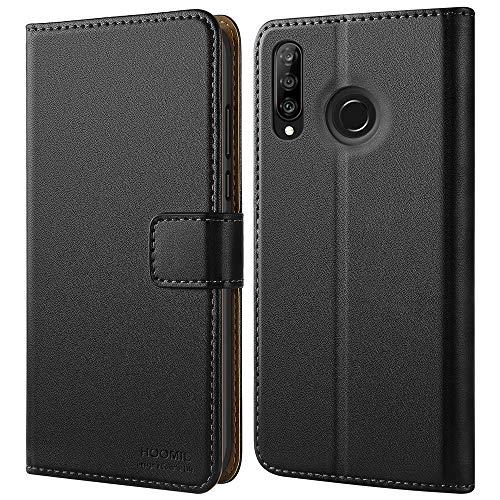 HOOMIL Handyhülle für Huawei P30 Lite Hülle, für Huawei P30 Lite New Edition Hülle Leder Flip Hülle Schutzhülle für Huawei P30 Lite Tasche - Schwarz