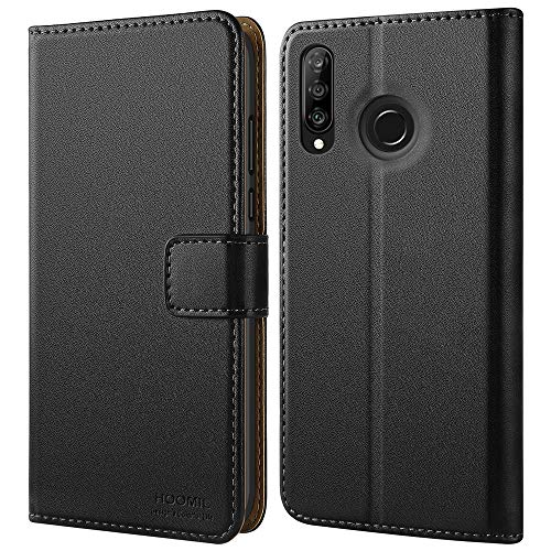 HOOMIL Huawei P30 Lite Case, Huawei P30 Lite Wallet Case Premium Leather Folio Case, Flip Book Style Wallet Cover with TPU Shockproof, Stand, Card Slots and Cash Pocket for Huawei P30 Lite (Black)