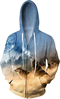 Unisex 3D Digital All Over Print Zip Up Hoodie Casual Pullover Hooded Sweashirt Jacket Pockets