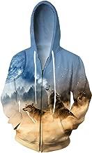 zip up wolf hoodie