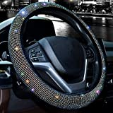 Valleycomfy Steering Wheel Cover for Women Bling Bling Crystal Diamond Sparkling Car SUV Wheel Protector Universal Fit 15 Inch (Black with Colorful Diamond,Standard Size(14' 1/2-15' 1/4))