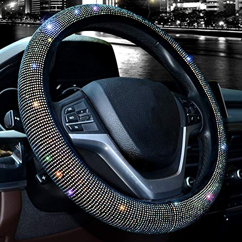 """Valleycomfy Steering Wheel Cover for Women Bling Bling Crystal Diamond Sparkling Car SUV Wheel Protector Universal Fit 15 Inch (Wine, M(14"""" 1/2-15"""" 1/4))"""