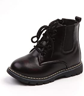 Komfyea Girl's Little Kid/Big Kid Fashion Outdoor Zipper Leather Autumn&Winter Ankle Boots