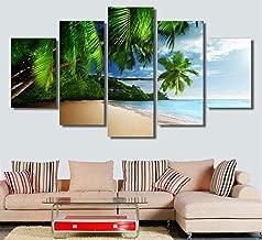 Canvas Painting 5 Tropical Ocean Sky Sunshine Blue Beach Painting Canvas Print Room Decoration Print Poster Picture Canvas-30CMx40/60/80CM