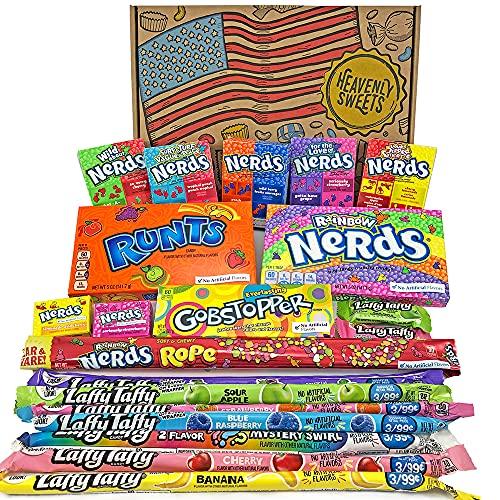 Heavenly Sweets Scatola di Caramelle Americane Assortite Nerds - Selezione di Dolcetti e Snack Americani Misti - Regalo Ideale per Compleanno, Halloween e Feste Natalizie - Confezione da 28x19x4cm