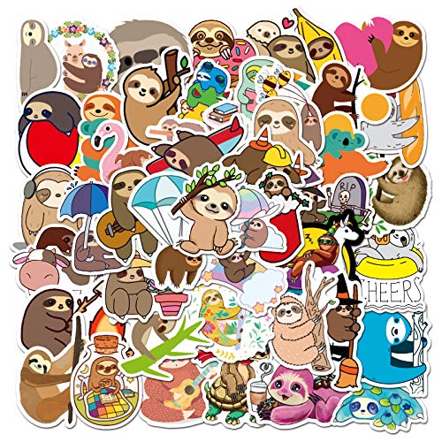 Sloth Sticker Pack of 50 Stickers Cute Sloth Decals for Laptops Hydro Flasks Water Bottles Luggage Car Bike Helmet