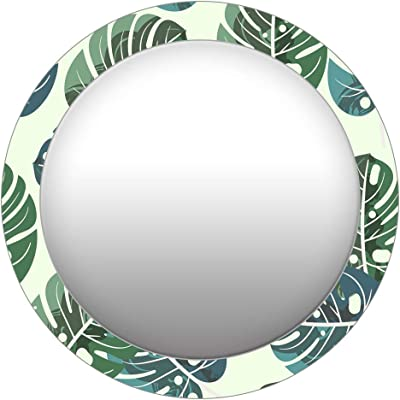 999Store Printed Green Leaves Pattern Round Mirror (MDF_17X17 Inch_Multi)