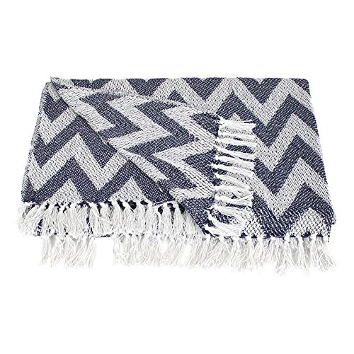 Kersten Plaid Hamam Blau Weiß Tagesdecke Decke 100prozent Baumwolle 170x130cm (Zickzack)