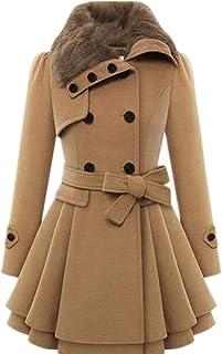51933c274ea Joe Wenko JWK Womens Wool Blend Loose Warm Thick Belted Trench Coat Pleated Pea  Coat