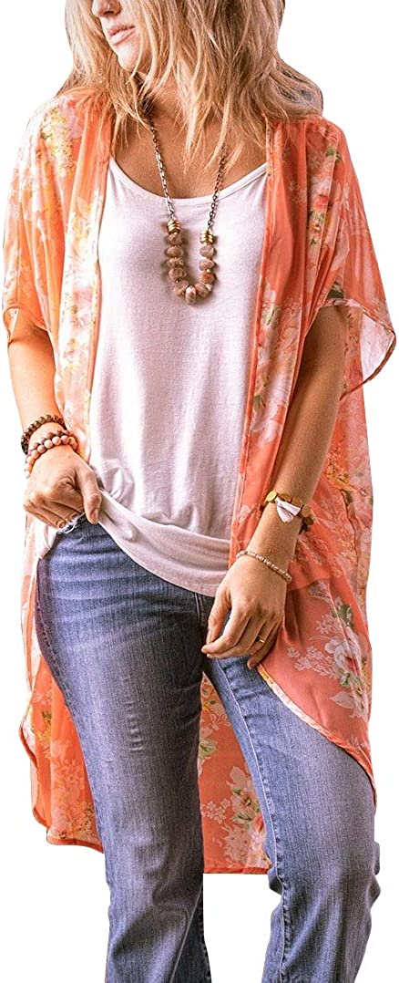 Floral Find Women's Floral Print Shawl Chiffon Kimono Summer Casual Loose Fit Cardigan
