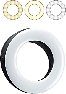 SUPTMAX 自撮りリング LEDライト スマホ クリップ リング ライト 撮影光補充ライト セルカライト ポケットサイズ 美肌効果抜群 明るさ調整可 あらゆる端末適応 軽量 USB給電 (黒)