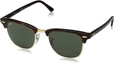 ray-ban clubmaster نظارات شمسية مربعة ، اللون بدرجات البني ، 49mm