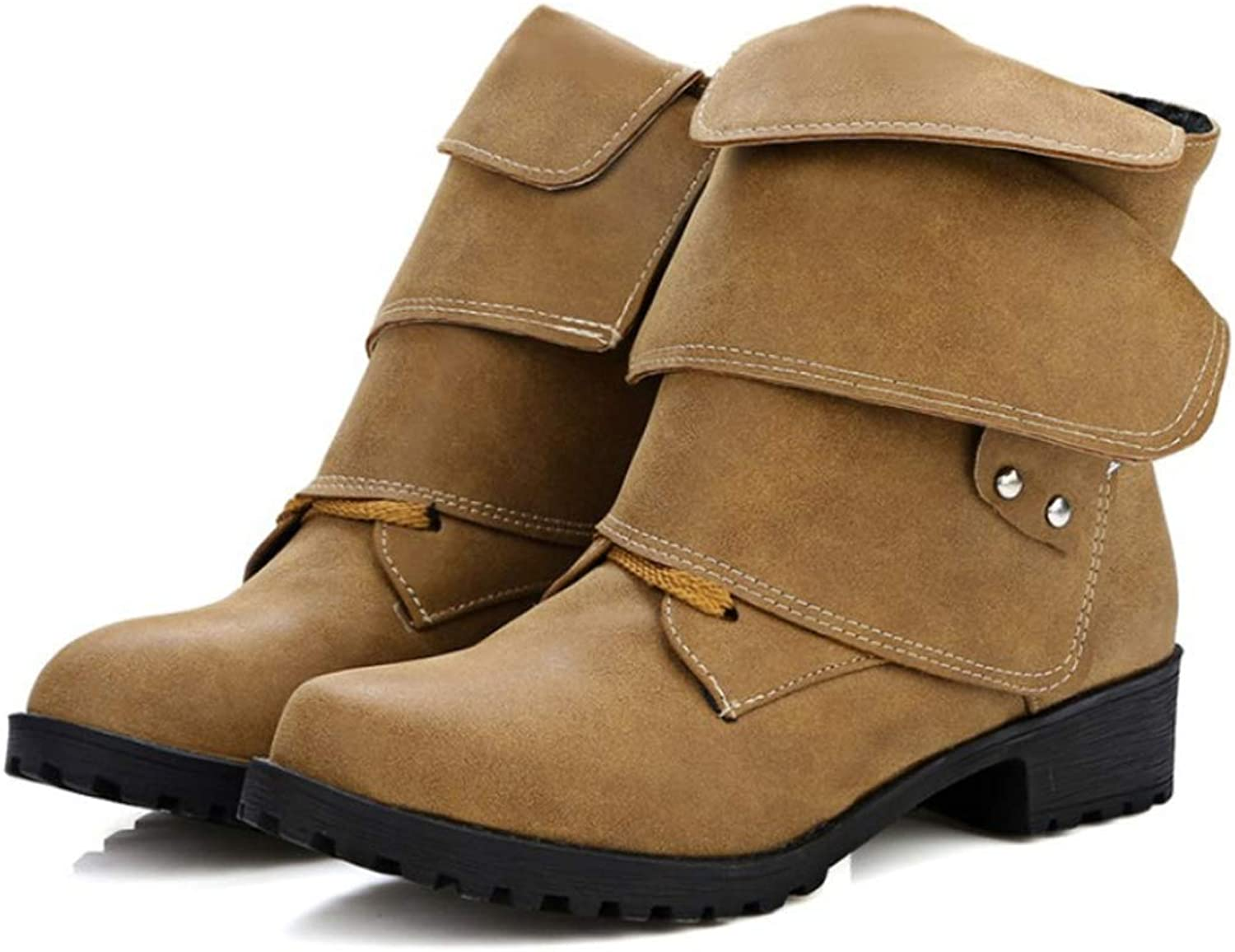 Women's shoes Flat Heel Ankle Boots Retro Martin Boots Knight Boots Large Size
