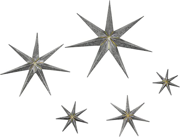 Habitat Gretchen Set Of 5 Silver Galvanized Metal Stars Wall Art