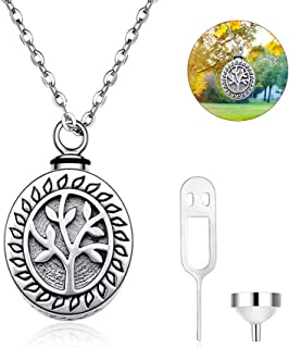 AOKF NJ Tree of Life 925 Sterling Silver Cremation Jewelry for Keepsake for Ashes Memorials Urn Charm Novelty Gifts Women Men Pendant Locket Necklace
