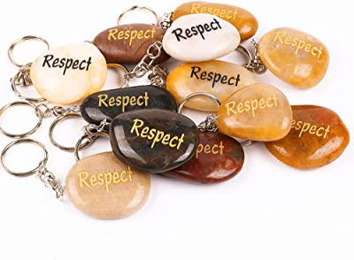 12PCS Respect RockImpact Inspirational Stone Key Chains, Engraved Natural River Rock Key Rings, Pocket Stone Keychain, Bulk Word Stone Wholesale Keyring, (Pack of 12, Respect)