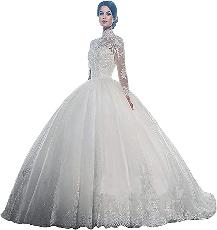Long Sleeves Wedding Dress 2021 Lace Ball Gown Off Shoulder Mermaid Wedding Dress