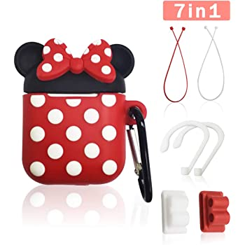 Airpod Case Cover, GONJOY 7 in 1 Slicone Airpod 2/1 Accessorie Set Protective Cover, Cute Funny Cartoon Minnie AirPods Anime Case for Girls Women Compatible with Airpods Holder/Ear Hooks/Keychain