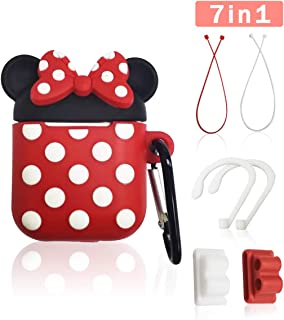 Airpods Case, GONJOY Airpods Minnie Mouse Case,7 in 1 3D Cute Cartoon Minnie Slicone Girls Kids Protective Cover and Skin for Apple Airpods Charging Case with Airpods Ear Hook Grips/Skin (Minnie)