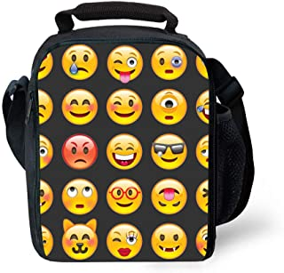 Children Travel Picnic Bag Insulated Tote Bag Lunch Box With Drink Bottle Holder With Shoulder Strap For Boys Girls 3D Print Emoji Black Design
