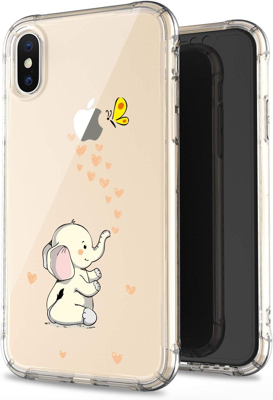 JAHOLAN iPhone X Case iPhone Xs Amusing Whimsical Design Clear Bumper TPU Soft Case Rubber Silicone Cover Phone Case for iPhone X iPhone Xs - Beige Cute Elephant