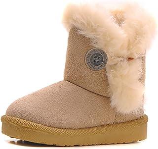 Poppin Kicks Girls Bailey Button Snow Boots Kids Winter Faux Fur Flat Shoes (Toddler/Little Kid)