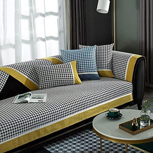 Fsogasilttlv Funda de sofá Antideslizante,Celosía Moderna Toalla de sofá Funda de cojín de sofá de Chenilla, Fundas de sofá Antideslizantes para Sala de Estar Verde 28 * 71 Inch