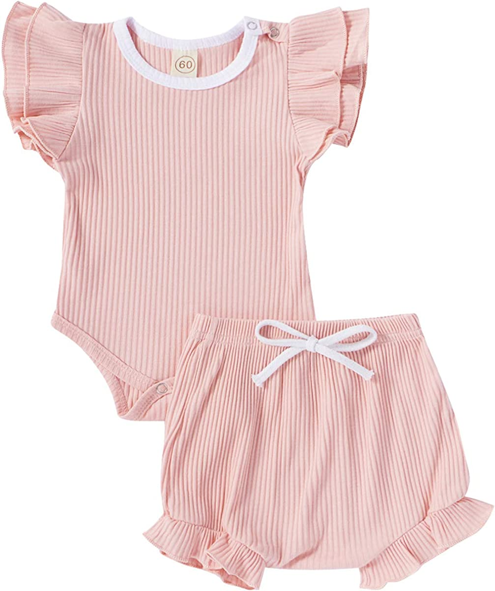 Newborn Infant Baby Girl Shorts Set 2Pcs Ribbed Summer Outfits Solid Ruffle Sleeve Romper Girls Tops Shorts