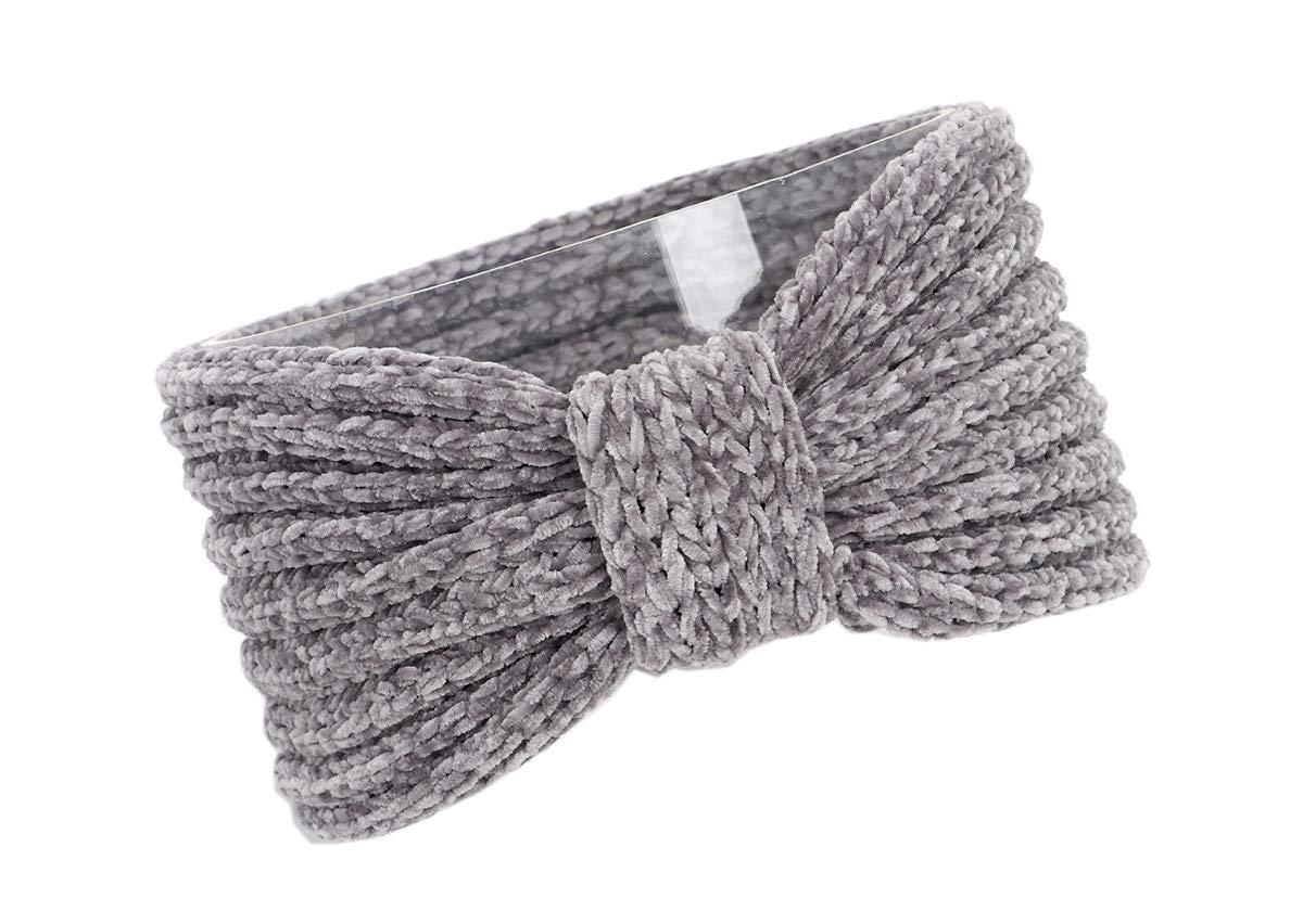 YueLian Knitted Headband Women Girls Winte Turban Hairband Stretchy Braided Ear Warmer (Grey)