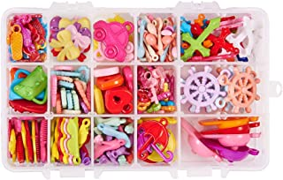 PH PandaHall 220pcs 15 Styles Candy Color Chunky Acrylic Charms Pendants Beads for DIY Jewelry Necklaces Bracelets Embellishments DIY Craft