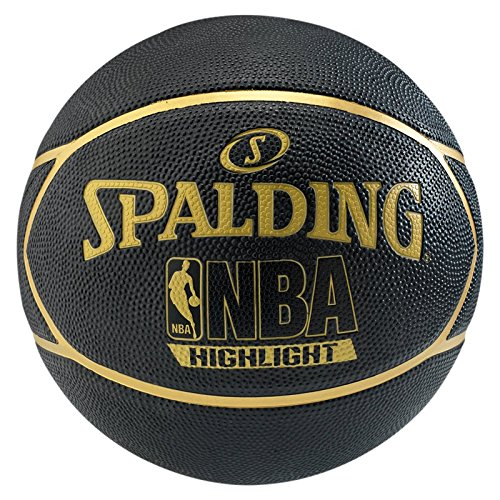 Spalding Ball NBA Highlight Outdoor Basketball, schwarz/Gold, 7
