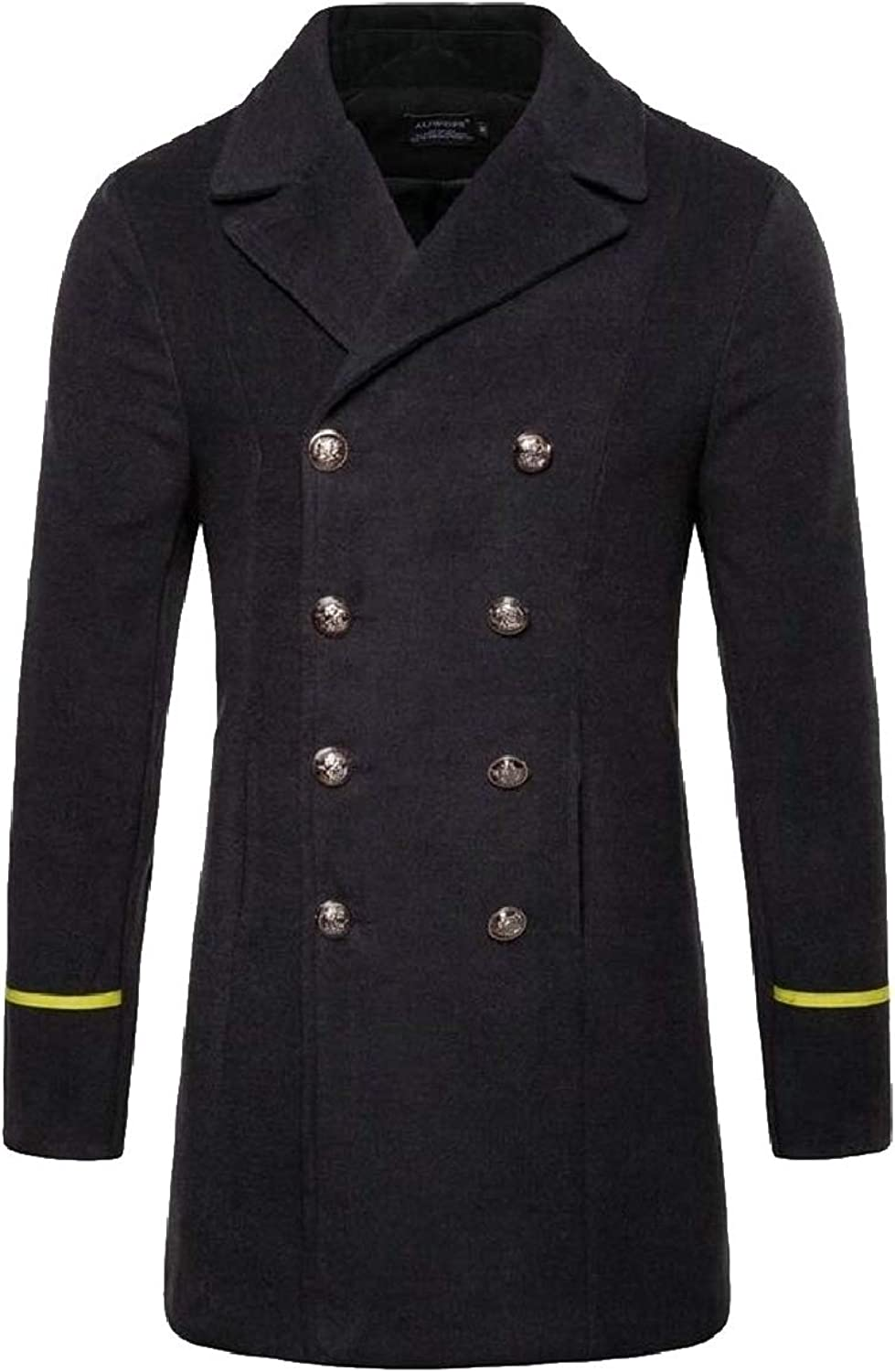 Smeiling-CA Men's Mid Long Slim Double Breasted Woolen Jacket Trench Coat