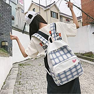 Luggage & Bags Large-Capacity Heart Lattice Pattern Casual Double Shoulders Bag Casual Backpack Couple School Bag (Black) Luggage & Bags (Color : White)