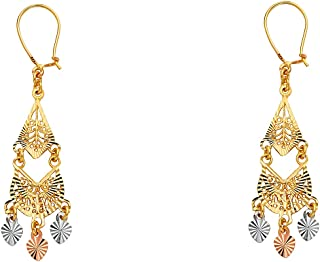 14K Tri Color Gold 3 Disco Ball Hanging Shepherds Hook Earrings Ioka
