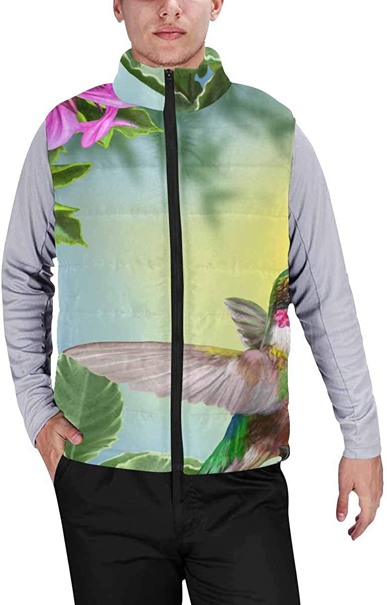 InterestPrint Men's Outdoor Casual Stand Collar Sleeveless Jacket Sloth, Cute Palm Tree Leaves