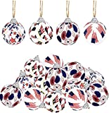12PCS Independence Day Hanging Ball Ornament - 4th of July Patriotic Fabric Wrapped Ball Ornament for Memorial Day Party Festival Christmas Tree Decoration, 4 Styles