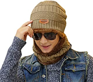 iTLOTL 2-Pieces Winter Beanie Hat Scarf Set Warm Knit Hat Thick Knit Skull  Cap b722a3ac9502