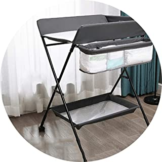 Portable Changing Mats Baby Changing Table Newborn Folding Massage Table Baby Storage Cart (Color : Gray, Size : 72 * 40 * 106cm)