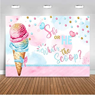 Mocsicka Ice Cream Gender Reveal Backdrop What's The Scoop Photography Background 7x5ft Vinyl She or He Ice Cream Banner Backdrops