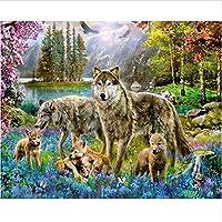 塗装キットDIYオオカミの画像ダイヤモンド塗装クロスステッチキットダイヤモンド刺繍モザイクパターン風景工芸品