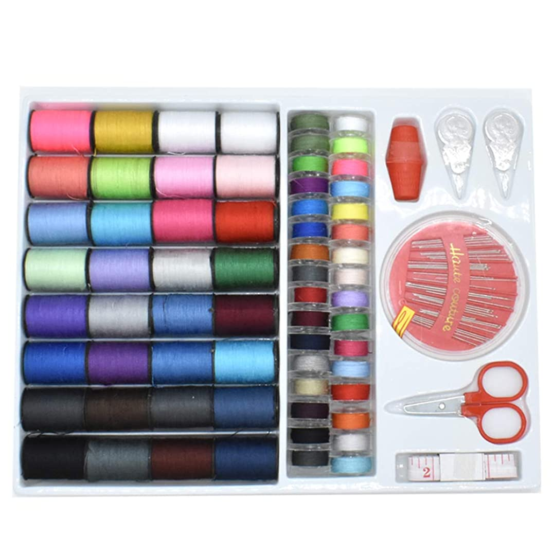 Renashed Sewing Kit with 100 Basic Sewing Accessories, 64 Spools of Thread Mini Sewing kit for Beginners,Traveller, Emergency, Whole Family to Mend and Repair