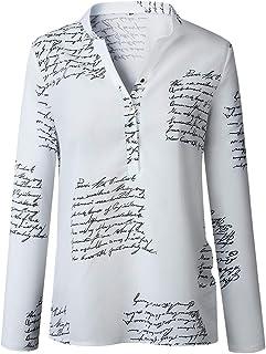 女性Vネック長袖レタープリントボタンダウンシャツソリッドカラートップスブラウス