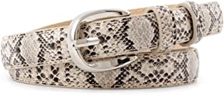 Women Fashion Snakeskin Print PU Leather Dress & Jeans Narrow Waist Belt for Girls and Ladies Silver Color Pin Buckle