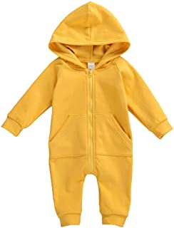Seyurigaoka Baby Boys Girls Jumpsuit Hoodie Romper Zipper Long Sleeve One Piece Outfits Warm Clothes for Unisex