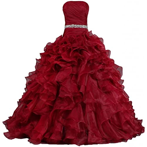 ANTS Womens Pretty Ball Gown Quinceanera Dress Ruffle Prom Dresses Fire Brick