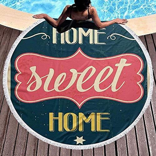 Duanrest Manta de Playa Redonda con Toalla de Playa, Imagen de Letrero de Estilo Retro de los años Sesenta desgastada con Frase Motivacional, Estera de Playa con Toalla de 59 '