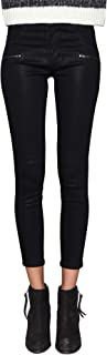 Women's Jeans Mid Rise Skinny Ankle Front Zip Twiggy Jeans in Black Coated
