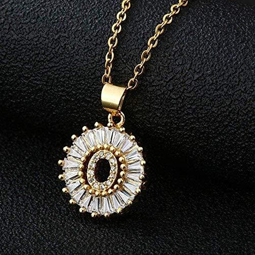 huangxuanchen co.,ltd Collar con Colgante de Letra de circonita cúbica Transparente, Collar de Cadena con Encanto de Cobre con Inicial de Oro, Regalo